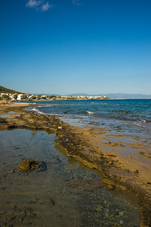 scala: Scenic Seafront and the beach near  town of Scala, Agistri Island,  Greece
