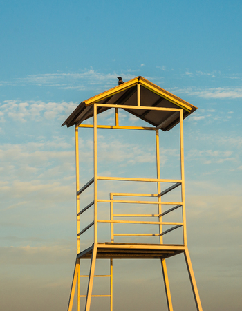 scala: Volleyball tower near the town of Scala, Agistri, Greece Stock Photo