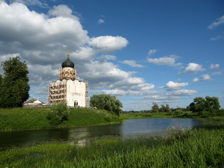 nerl river: Image of Church of the Intercession on the River Nerl.  Stock Photo