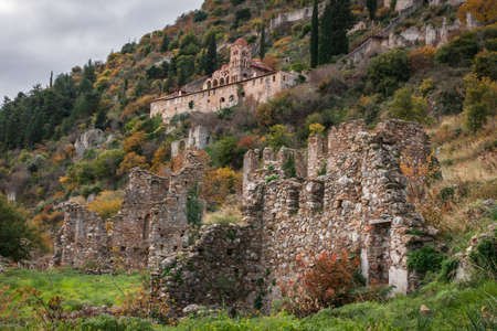 castle: Ruins of the medieval Byzantine ghost town-castle of Mystras, Peloponnese, Greece
