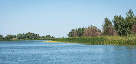 volga: Landscape with a river of central Russia, Volga delta