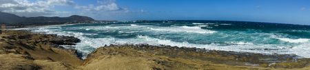 beach panorama: Scenic seascape at Falasarna beach, Crete, Greece