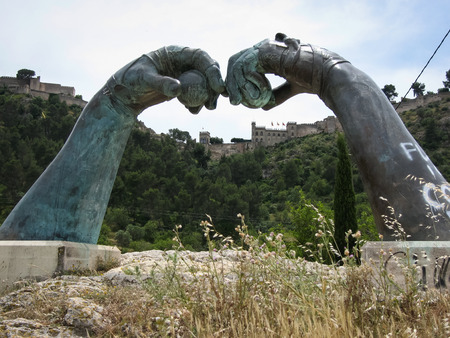 murcia: Image of monument ball game and Castle  at Jativa, Valencia y Murcia, Spain Editorial