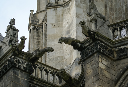 Architectural details of Cathedral at Amiens, France