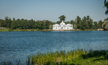 pushkin: Image of Grotto Pavilion at the lake in Pushkin, Russia