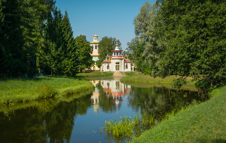pushkin: Image of large pond and Chinese pavilion in Pushkin, Russia