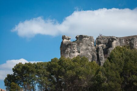 strange mountain: Scenic and unusual view to city Cuenca and strange rock formations