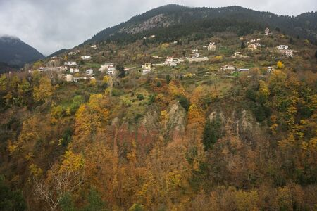 western europe: Scenic mountain autumn landscape and village Prusos, Evitania, Greece Stock Photo
