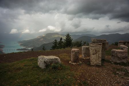 karpenisi: Scenic view from the mountain to the lake , Evitania, Greece