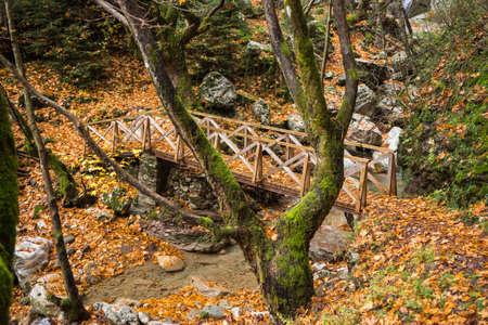 karpenisi: Autumn landscape with a river, Karpenisi, Greece Stock Photo