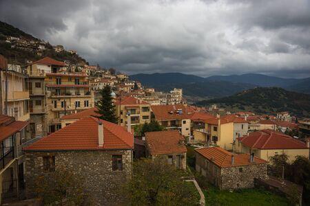 karpenisi: Sxcenic cityview at mountain village of Karpenisi, Evitania, Greece
