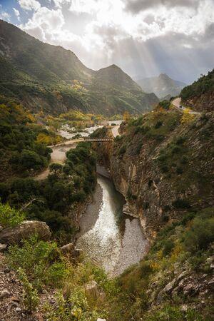 karpenisi: Scenic mountain autumn landscape with a river, Evitania, Greece Stock Photo