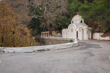 poros: Image of mall white church at island of Poros, Greece Stock Photo