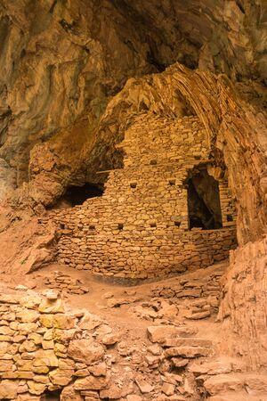karpenisi: Scenic mountain autumn landscape with a cave, Evritania, Greece