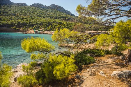 union beach: Sea shore and sandy beach of the island  Moni, Saronida, Greece