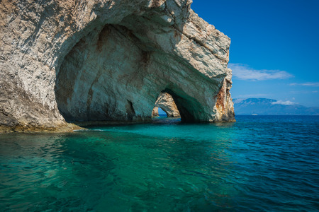greece: Scenic image of Blue caves, Zakinthos, Greece