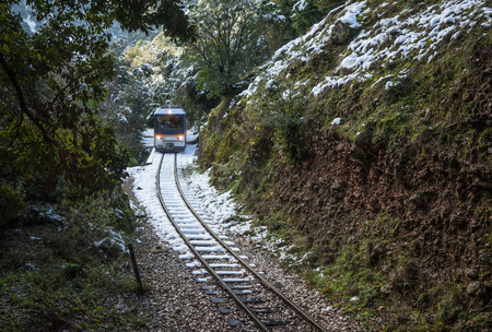 narrow gauge railways: Image of Vouraikos gorge at winter time, Peloponnese, Greece