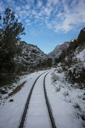 narrow gauge railroads: Image of Vouraikos gorge at winter time, Peloponnese, Greece
