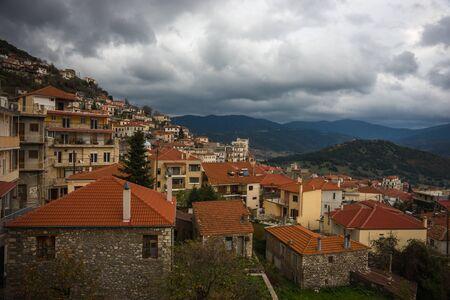 evritania: Sxcenic cityview at mountain village of Karpenisi, Evritania, Greece Stock Photo