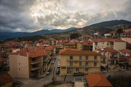 karpenisi: Sxcenic cityview at mountain village of Karpenisi, Evritania, Greece Stock Photo