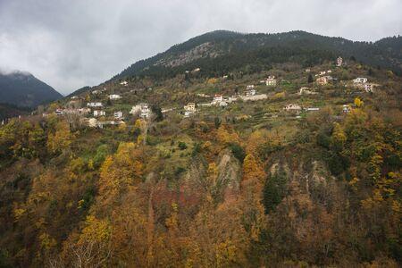 evritania: Scenic mountain autumn landscape and village Prusos, Evritania, Greece Stock Photo