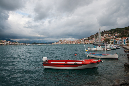 poros: Image of port and boats at island of Poros, Greece Stock Photo