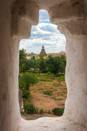 loophole: Scenic view through the loophole of the Astrakhan Kremlin, Russia