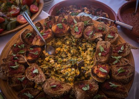 greek cuisine: Image of Greek cuisine, island of Milos, Greece Stock Photo