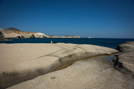 moonscape: Unique white moonscape beach Sarakiniko, Milos, Greece Stock Photo