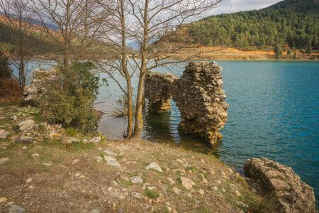 western europe: Old ruins on the lake Doxa on Peloponnese, Greece