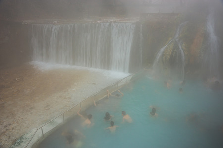 Mist around thermal springs at Loutra Posar in Greece Banco de Imagens