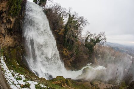 Exciting and powerful waterfalls in Edessa, northern Greece Stock Photo