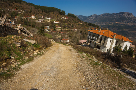 landslide: Image of sliding village Ropoto after a landslide in Greece Stock Photo