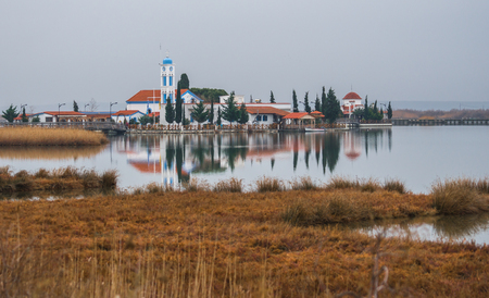 temple tower: Monastery of Saint Nikolas on  small island at lake Vistonida, Northern Greece
