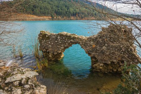 doa: Old ruins on the lake Do?a on Peloponnese, Greece Stock Photo