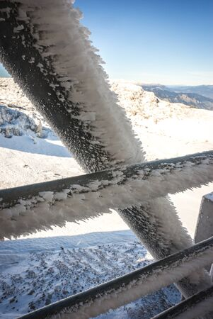 buildup: Snow build-up on metal parts on Mount Parnassos in central Greece