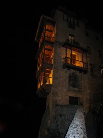 Image of hanging houses in Cuenca at night, Castilla la Mancha, Spain