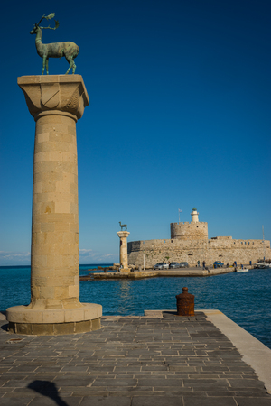 stood: Place in the port of Rhodes, where stood the Colossus of Rhodes, Greece