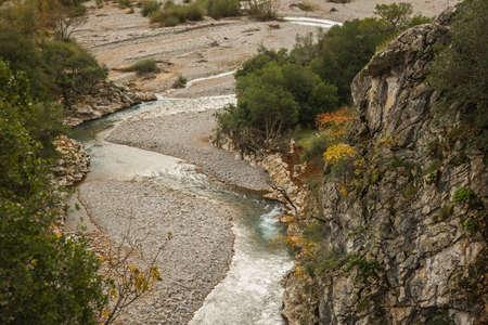 karpenisi: Scenic mountain autumn landscape with a river, Evritania, Greece