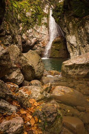 evritania: Autumn landscape with a river, Karpenisi, Greece Stock Photo