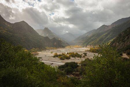 Scenic mountain autumn landscape with a river, Evritania, Greece
