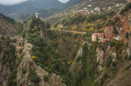 evritania: Scenic mountain autumn landscape with a monastery, Evritania, Greece