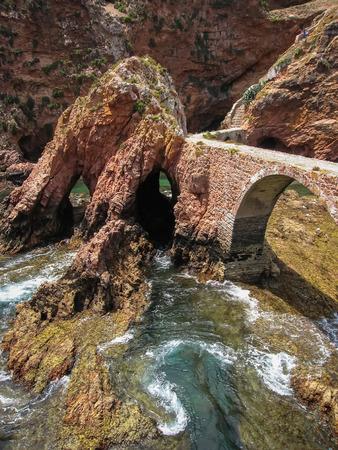 john the baptist: Image of Bridge to Fort  St John Baptist in Berlenga island, Portugal Stock Photo