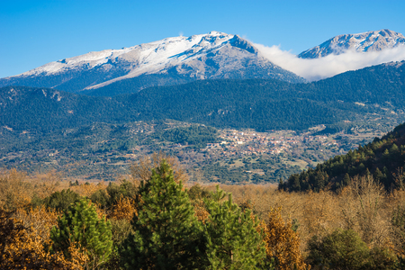 snowy mountains: Early winter  landscape with snowy mountains near Stimfalia lake at Peloponnese, Greece