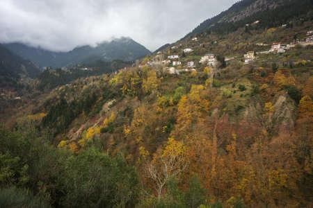 karpenisi: Scenic mountain autumn landscape and village Prusos, Evritania, Greece Stock Photo