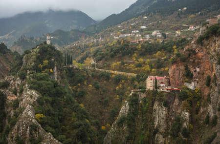 karpenisi: Scenic mountain autumn landscape with a monastery, Evritania, Greece