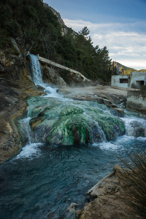 curative: Image of picturesque thermal springs in Thermopiles, Greece Stock Photo