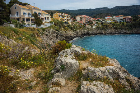 union beach: Scenic and beautiful view to Asos city on Kefalonia in Greece