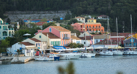 Scenic view of the port in Fiscardo, Kefalonia in Greece Stock Photo