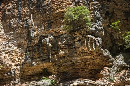 evritania: Stunningly beautiful original stone walls of the gorge Panta Vrexei in Evritaniia in Greece Stock Photo